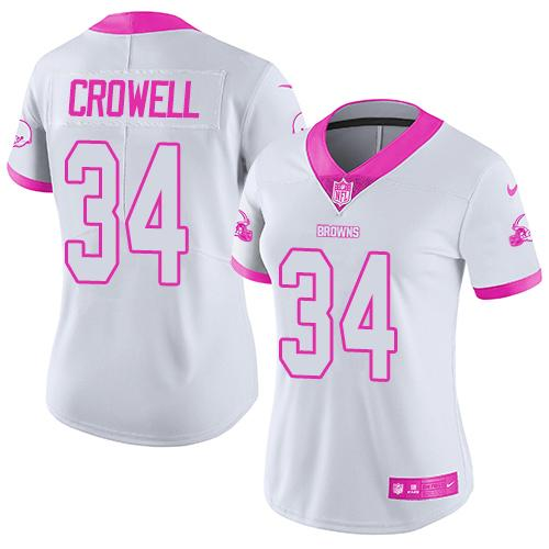 Nike Browns #34 Isaiah Crowell White/Pink Women's Stitched NFL Limited Rush Fashion Jersey