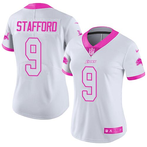 Nike Lions #9 Matthew Stafford White/Pink Women's Stitched NFL Limited Rush Fashion Jersey