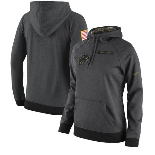 Women's Detroit Lions Nike Anthracite Salute to Service Player Performance Hoodie