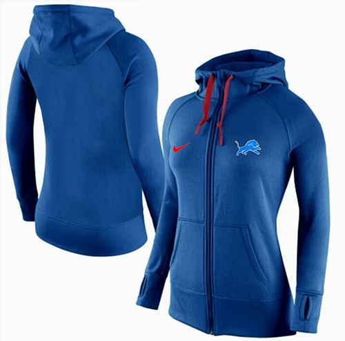Women's Nike Detroit Lions Full-Zip Performance Hoodie Blue
