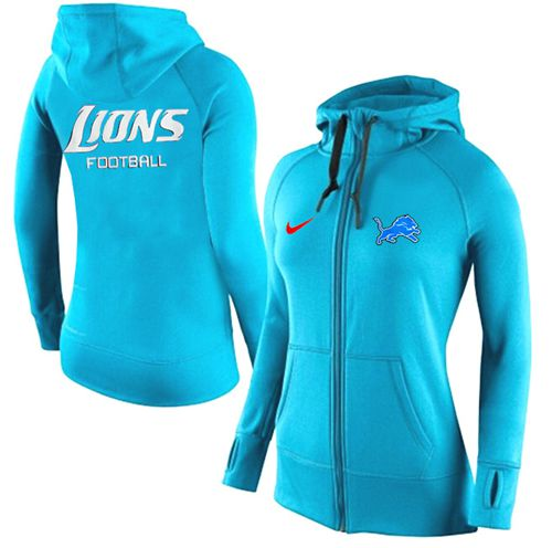 Women's Nike Detroit Lions Full-Zip Performance Hoodie Light Blue