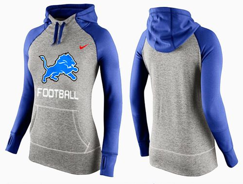 Women's Nike Detroit Lions Performance Hoodie Grey & Blue_1