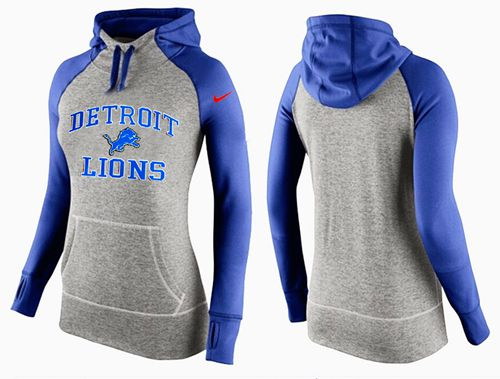 Women's Nike Detroit Lions Performance Hoodie Grey & Blue_2