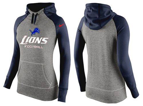 Women's Nike Detroit Lions Performance Hoodie Grey & Dark Blue