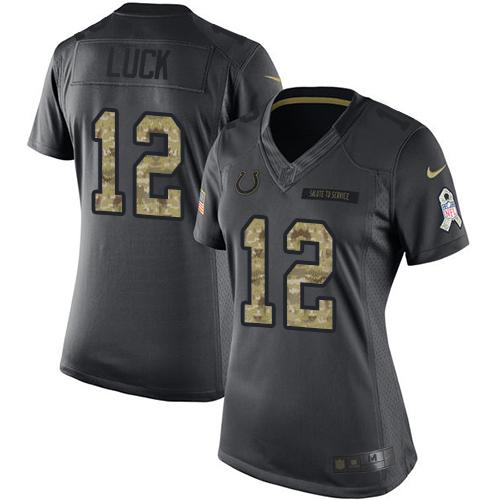 Nike Colts #12 Andrew Luck Black Women's Stitched NFL Limited 2016 Salute to Service Jersey