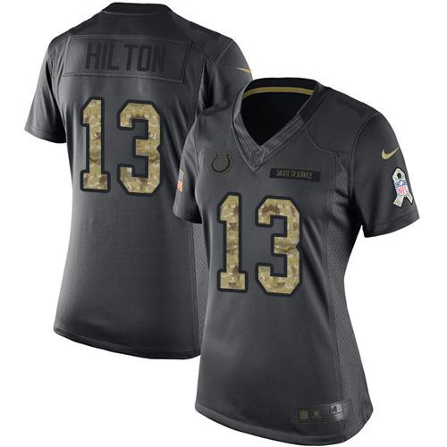 Nike Colts #13 T.Y. Hilton Black Women's Stitched NFL Limited 2016 Salute to Service Jersey