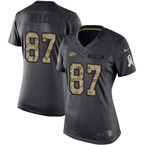 Nike Chiefs #87 Travis Kelce Black Women's Stitched NFL Limited 2016 Salute to Service Jersey