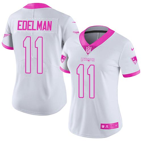 Nike Patriots #11 Julian Edelman White/Pink Women's Stitched NFL Limited Rush Fashion Jersey