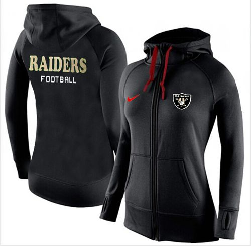 Women's Nike Oakland Raiders Full-Zip Performance Hoodie Black_1