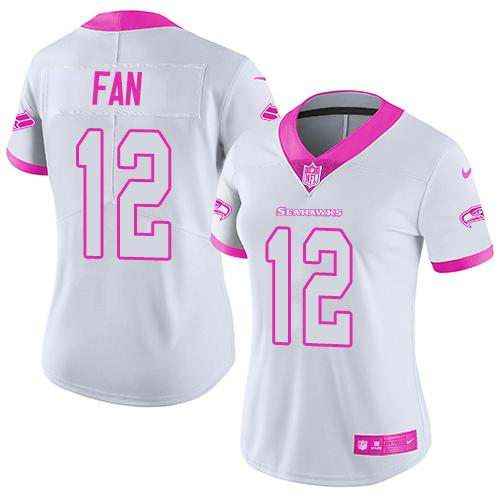 Nike Seahawks #12 Fan White/Pink Women's Stitched NFL Limited Rush Fashion Jersey
