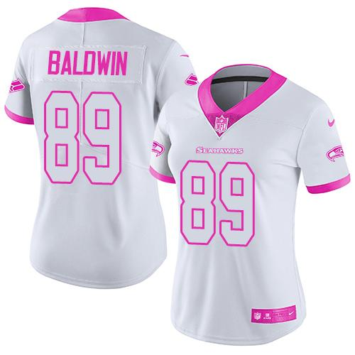 Nike Seahawks #89 Doug Baldwin White/Pink Women's Stitched NFL Limited Rush Fashion Jersey