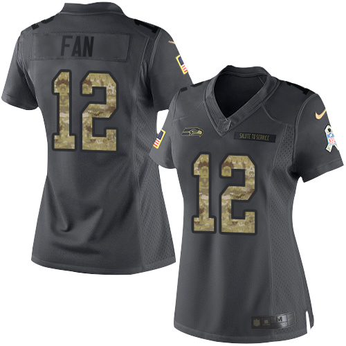 Nike Seahawks #12 Fan Black Women's Stitched NFL Limited 2016 Salute to Service Jersey