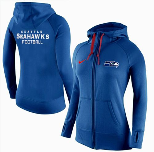Women's Nike Seattle Seahawks Full-Zip Performance Hoodie Blue