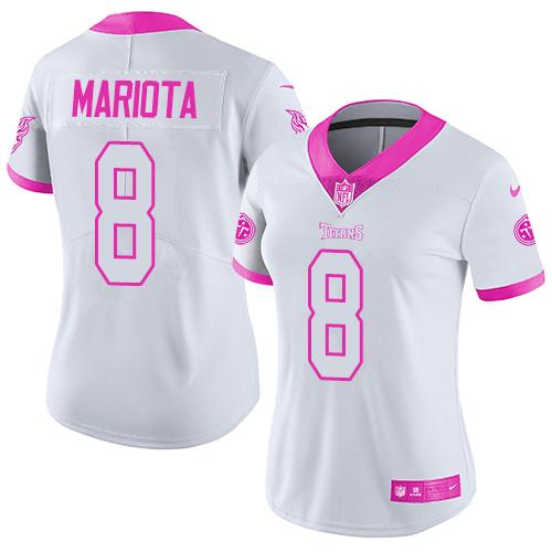 Nike Titans #8 Marcus Mariota White/Pink Women's Stitched NFL Limited Rush Fashion Jersey