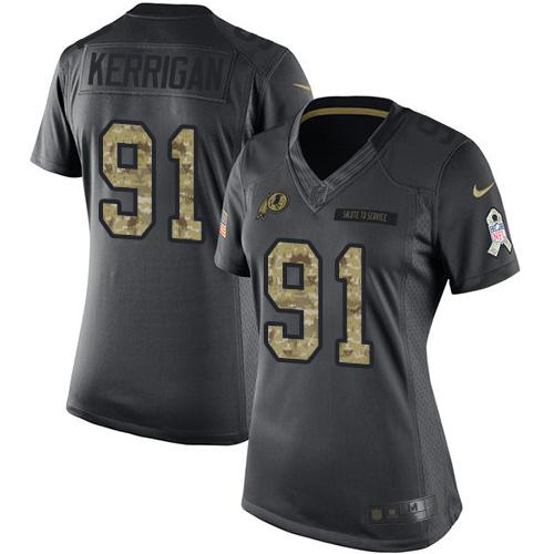 Nike Redskins #91 Ryan Kerrigan Black Women's Stitched NFL Limited 2016 Salute to Service Jersey