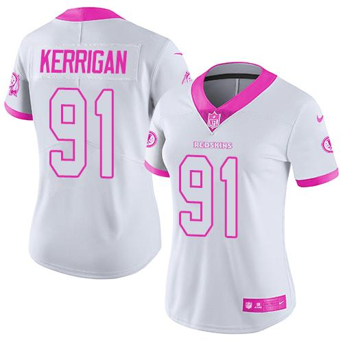 Nike Redskins #91 Ryan Kerrigan White/Pink Women's Stitched NFL Limited Rush Fashion Jersey