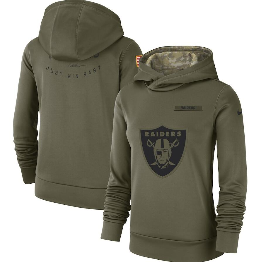 Women's Oakland Raiders Olive Salute to Service Team Logo Performance Pullover NFL Hoodie