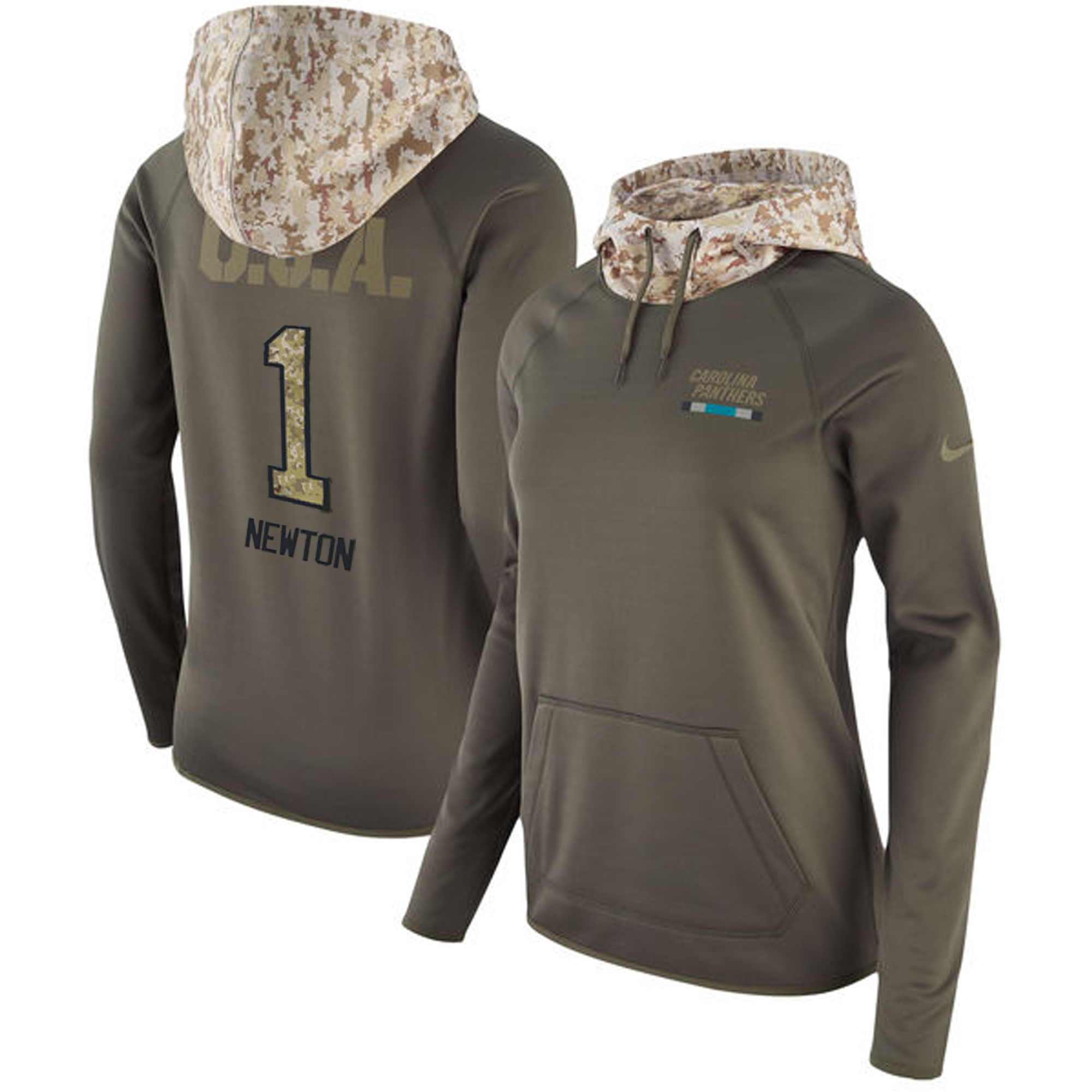 Women's Carolina Panthers #1 Cam Newton Olive Salute to Service Sideline Therma Pullover Hoodie