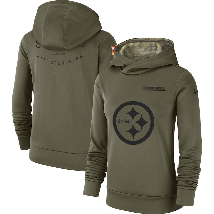 Women's Pittsburgh Steelers Olive Salute to Service Team Logo Performance Pullover NFL Hoodie