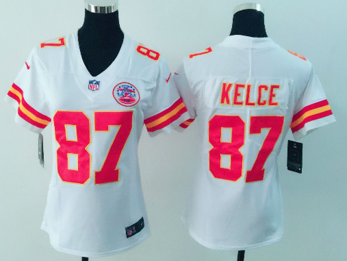Women's Nike Kansas City Chiefs #87 Travis Kelce White Vapor Untouchable Player Limited Stitched NFL Jersey