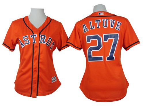 Astros #27 Jose Altuve Orange Alternate Women's Stitched MLB Jersey