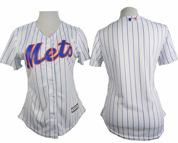4c3854e943d Mets Blank White(Blue Strip) Women s Home Stitched MLB Jersey