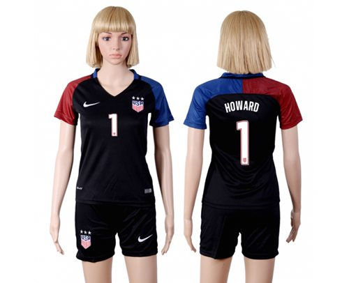 Women's USA #1 Howard Away(Three Star) Soccer Country Jersey
