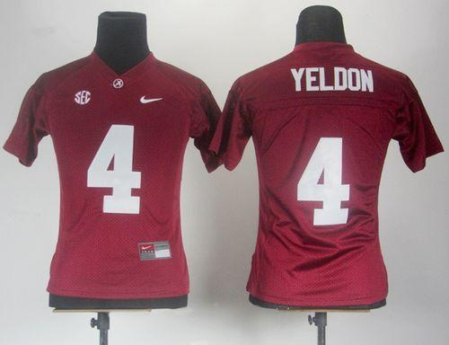 Crimson Tide #4 T.J Yeldon Red Women's Stitched NCAA Jersey