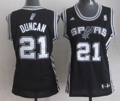 Spurs #21 Tim Duncan Black Women's Road Stitched NBA Jersey