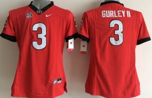 Bulldogs #3 Todd Gurley II Red Women's Stitched NCAA Jersey