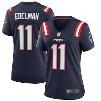 Women's New England Patriots #11 Julian Edelman Navy Stitched Jersey