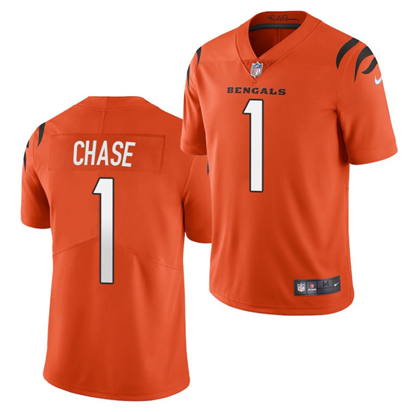 Women's Cincinnati Bengals #1 Ja'Marr Chase 2021 New Orange Vapor Limited Stitched Jersey(Run Small)