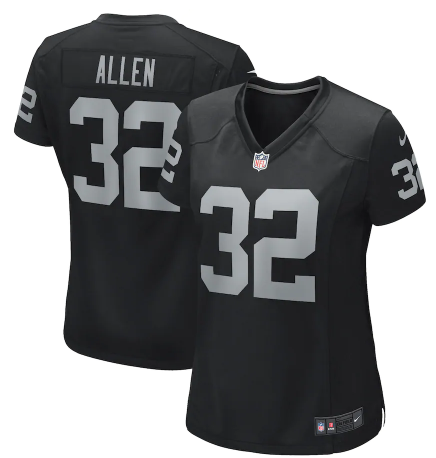 Women's Las Vegas Raiders #32 Marcus Allen Black Game Jersey(Run Small)