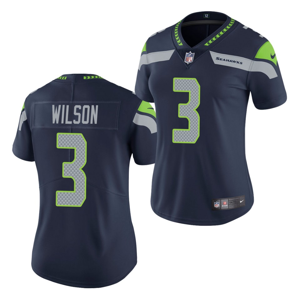 Women's Seattle Seahawks #3 Russell Wilson Navy Vapor Untouchable Stitched Jersey(Run Small)