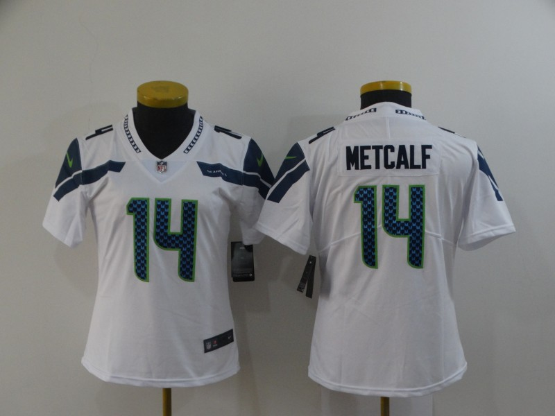 Women's Seattle Seahawks #14 D.K. Metcalf White Vapor Untouchable Stitched Jersey(Run Small)