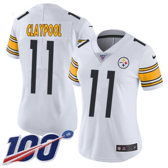 Women's Pittsburgh Steelers #11 Chase Claypool White Vapor 100th Season Limited Stitched NFL Jersey(Run Small)
