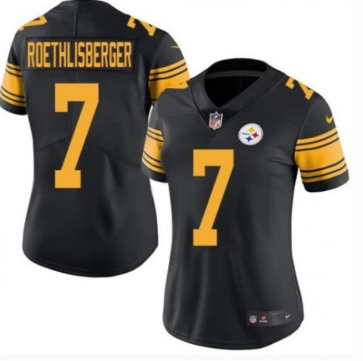 Women's Pittsburgh Steelers #7 Ben Roethlisberger Black Vapor Untouchable Limited Stitched NFL Jersey(Run Small)