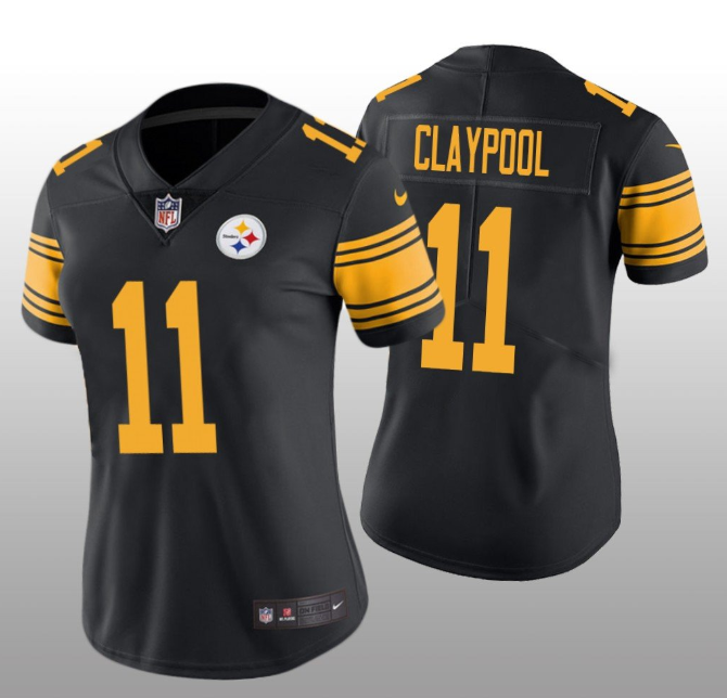Women's Pittsburgh Steelers #11 Chase Claypool Black Color Rush Limited Stitched NFL Jersey(Run Small)