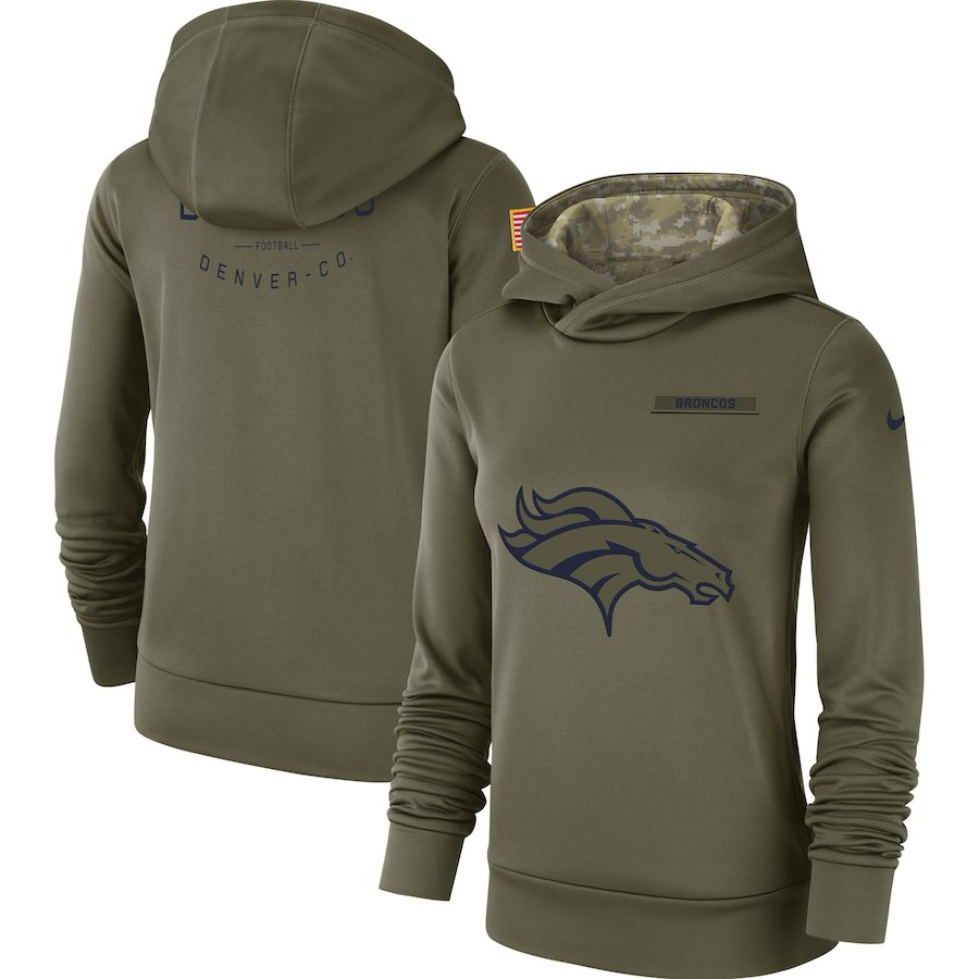 Women's Denver Broncos Olive Salute to Service Team Logo Performance Pullover NFL Hoodie