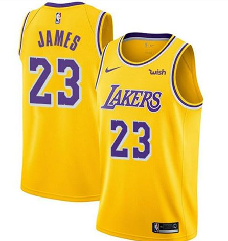 Youth Los Angeles Lakers #23 LeBron James Yellow Stitched NBA Jersey