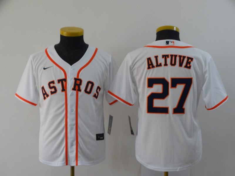 Youth Houston Astros #27 Jose Altuve White Cool Base Stitched MLB Jersey