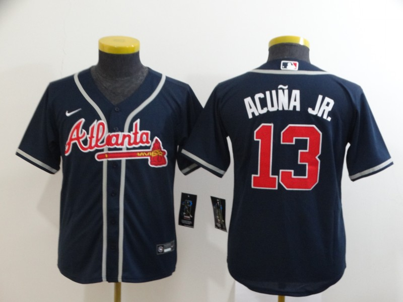 Youth Atlanta Braves #13 Ronald Acuña Jr Navy Cool Base Stitched Youth MLB Jersey