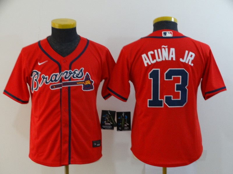 Youth Atlanta Braves #13 Ronald Acuña Jr Red Cool Base Stitched Youth MLB Jersey
