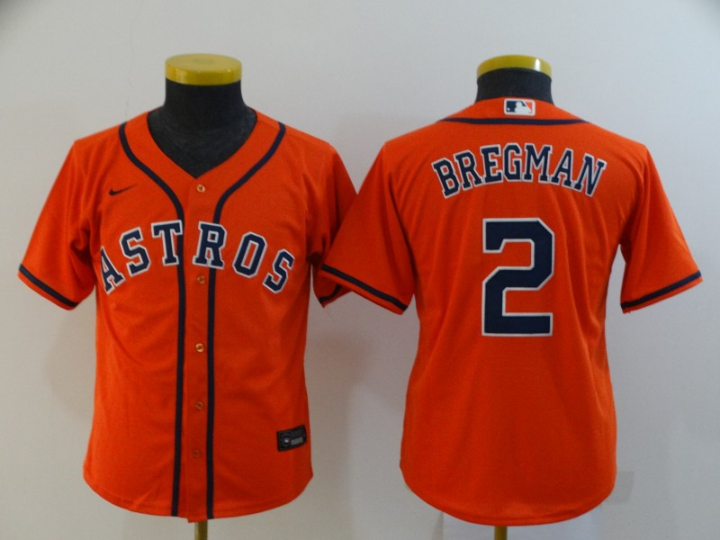 Youth Houston Astros #2 Alex Bregman Orange Cool Base Stitched MLB Jersey