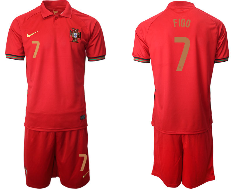 Portugal #7 Figo Home Kid Soccer Country Jersey