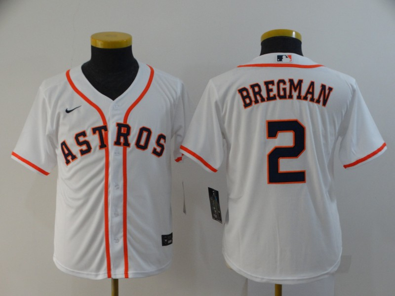 Youth Houston Astros #2 Alex Bregman White Cool Base Stitched MLB Jersey