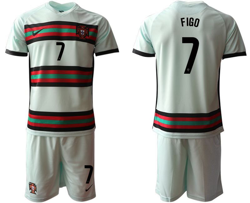 Portugal #7 Figo Away Kid Soccer Country Jersey
