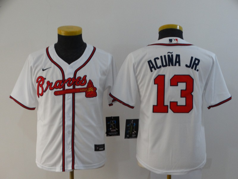 Youth Atlanta Braves #13 Ronald Acuña Jr White Cool Base Stitched Youth MLB Jersey