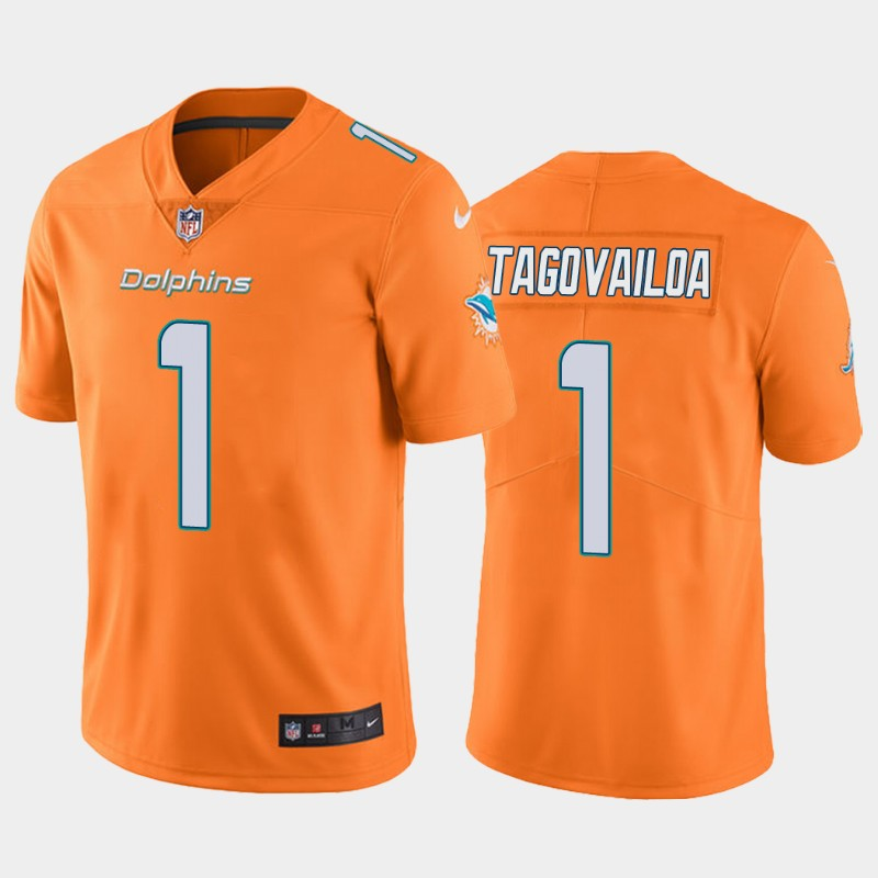Youth Miami Dolphins #1 Tua Tagovailoa Orange Vapor Untouchable Limited Stitched Jersey