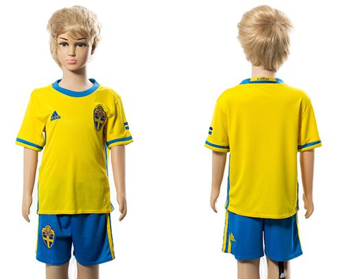 Sweden Blank Home Kid Soccer Country Jersey